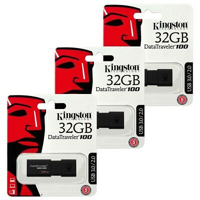 3 PACK 32GB USB 3.0 Kingston Data Traveler 100 G3 Flash Drive Memory Stick 32GB
