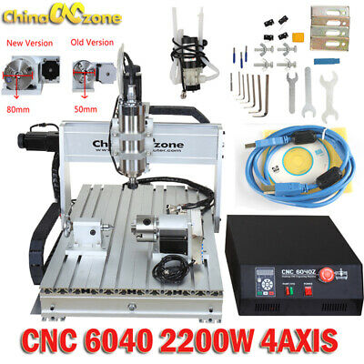 CNC 6040 2200W 4Axis Mach3 USB Router Engraving Cutting Drilling DIY Machine US