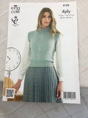 KNITTING PATTERN Ladies Long or Short Sleeve Lace Front Jumper Bamboo 4ply 4133