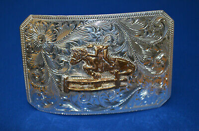 FLEMING Sterling Hand Engraved Belt Buckle w/ HORSE JUMPING SCENE  * Discounted