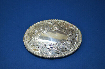 FLEMING Silver Overlaid Floral Hand-Engraved Oval Berry Beaded Belt Buckle FANCY