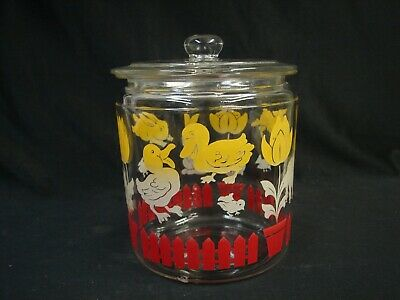 Bunny Lamb Duck Tulip Fence Canister Glass Jar Anchor Hocking Vintage 1940'S