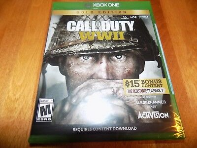 CALL OF DUTY WWII GOLD EDITION XBOX ONE XB1 + Resistance DLC Pack 1 SEALED NEW