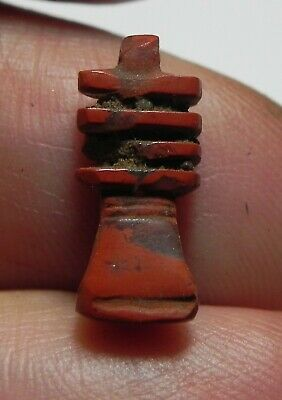 Zurqieh -As11765- Ancient Egypt, Red Jasper Djed Pillar Amulet. 1400 B.c