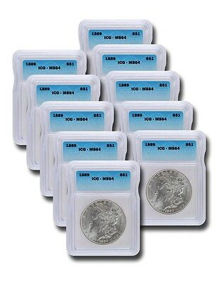 Pre 1921 Silver Morgan Dollar ICG MS64 S$1 Lot of 10 Mixed Dates and Mint Marks