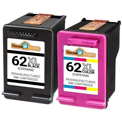2-PK Reman HP 62XL Black + Color Ink Cartridges for Officejet 5740 5742 5745