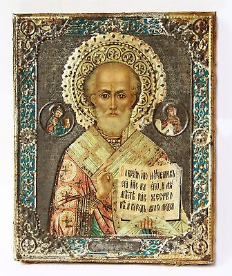Antique 19th C Russian Metal Chromolithography Icon of St.Nicholas