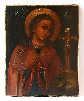 Antique 19th C Russian Hand Painted Icon of the Akhtyrka of the Mother of God