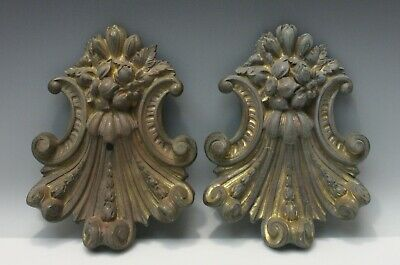 Pair 19th C French Rococo Gilt Bronze Drapery Curtain Tie Back Covers