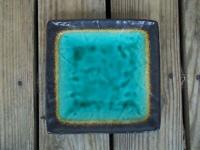 Simple Dining Turquoise Green Yellow Brown Square Salad Luncheon Plate Pottery