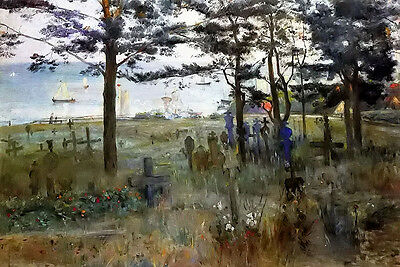 Oil painting lovis corinth - fishermens cemetery at nidden landscape by river