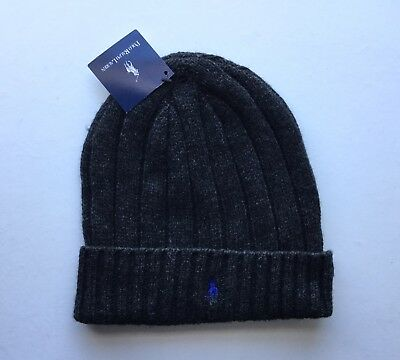 NEW Polo Ralph Lauren Wool Winter Hat Ribbed Beanie Skull Cap Cuffed Dark Gray