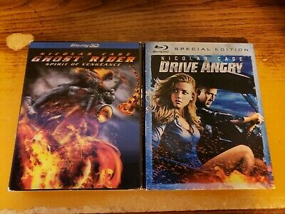 GHOST RIDER: SPIRIT of Vengeance 3D + Drive Angry 3D Blu Ray Lot W/Slipcases