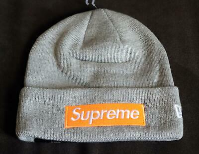cc00f86c8 NWT SUPREME X New Era Box Logo Grey Orange Beanie Hat F/W 17