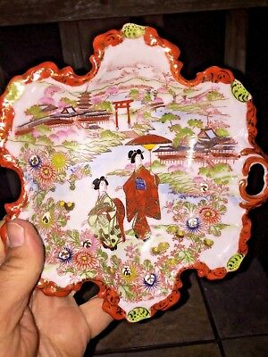 Antique Japan GEISHA IN GARDEN Red Scalloped Finger Loop Bowl Hand Painted ❤️m17