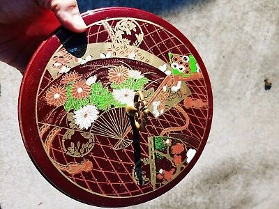 Vintage Chinese Oriental Asian Covered Divided Tray Box Bowl Laquer ▬ 5/8.5❤️m17