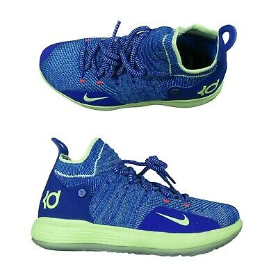 0af04e9746 Nike KD11 GS Basketball Shoes Blue Lime Green Size 7Y Womens 8.5 AH3465 900