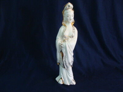 "Chinese Asian Porcelain Figurine Woman Statue Gold Trim 12 1/2"" Tall"