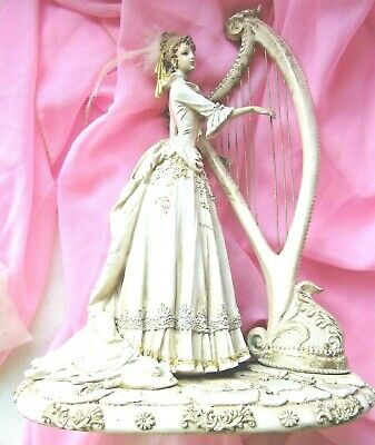 "FIGURINE "" LADY with HARP "" 15 inch (38cm) VINTAGE"