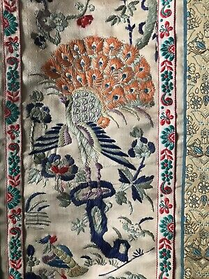 Vintage Chinese Silk Hand Embroidery Art Sleeve Panel Fauna & Flora Birds/Peonys