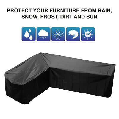L Shape Black Sofa Furniture Covers Cover Rattan Garden Waterproof Protector Set