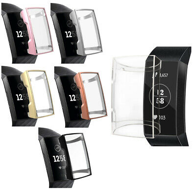 Transparent TPU Shell Case Screen Protective Frame Cover for Fitbit Charge 3 New