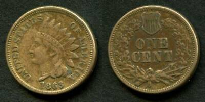 Nice 1863 Indian Head Small Cent Nicely toned XF+ NR