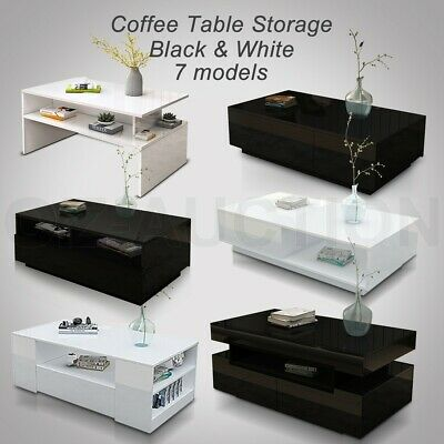 Modern Coffee Table Storage Drawer Cabinet High Gloss Furniture 6 Models BK/WH