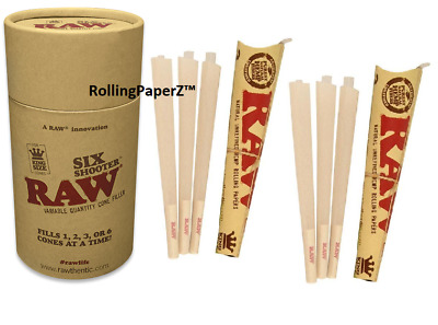 RAW Six Shooter Cone Filler + 6 FREE Pre Rolled Ready to Fill King Size Cones!