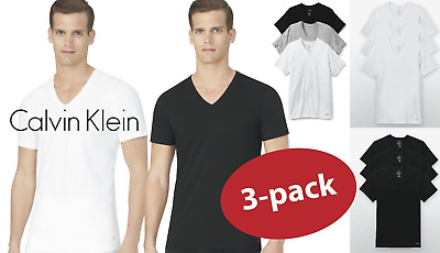 New 3 Pack CLASSIC FIT Calvin Klein Mens V Neck Crew Neck T Shirt Tee