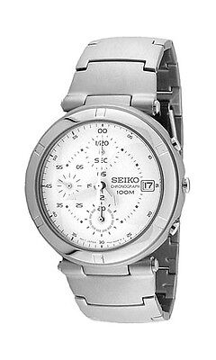 0f6d4f4e93b SEIKO Chronograph SND103 SND103P1 Mens White Dial Stainless Steel Watch