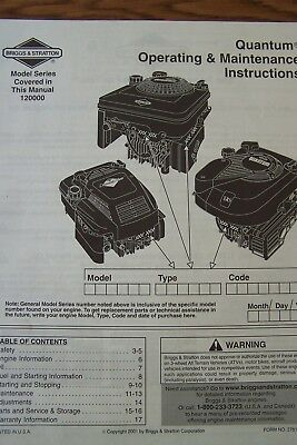 Briggs & Stratton Quantum Operating & Maintenance Instructions Engine 120000