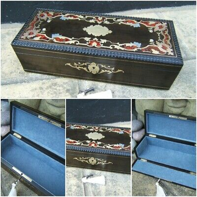 Terrific Rare 19C French Inlaid Antique Document/Jewellery Box - Fab Interior