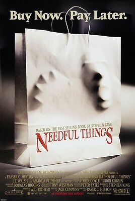 Needful Things movie poster  : Stephen King  : 11 x 17 inches