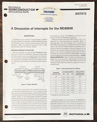 Motorola - A Discussion Of Interrupts For The MC68000  Application Note (1988)