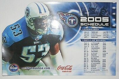 TENNESSEE TITANS 2005 Keith Bullock Schedule Team Magnetic magnet
