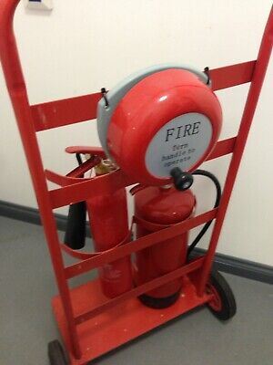 fire extinguisher trolley with fire bell with two extinguishers