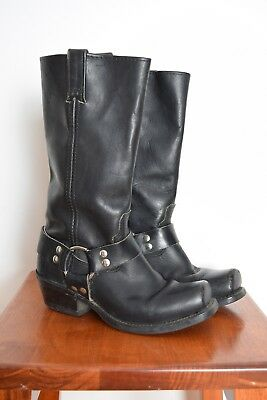 ad164f1047 vintage 80s boots black leather motorcycle engineer boots metal moto W 6.5