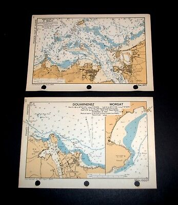 2 D-DAY Overlord maps of ST. MALO; DOUARNENEZ, MORGAT, France WW2 1943