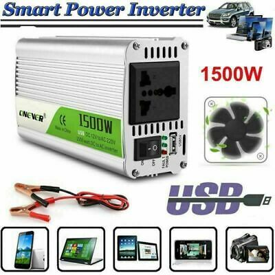 Convertisseur 1500W DC 12V à AC 220V pur sinus Power Onduleur Inverter Voiture