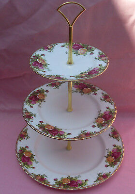 ROYAL ALBERT  3 or 2 TIER CAKE STAND  OLD COUNTRY ROSES - TEA PARTY