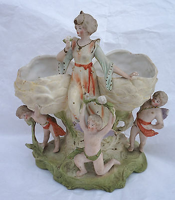 French Cherub Rose Lady Jardiniere Hand Painted Gilt Bisque Porcelain Paris 1900