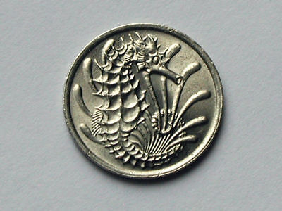Singapore 1982 10 CENTS Coin AU+ with Lustre & Seahorse Ocean Animal
