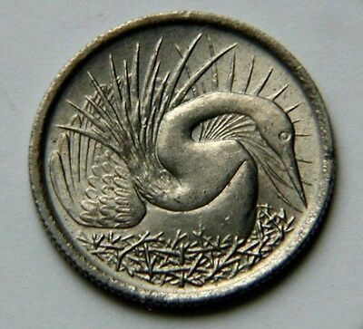 Singapore 1968 5 CENTS Coin with Toned-Lustre & Snakebird Bird & Tiny 16mm Size