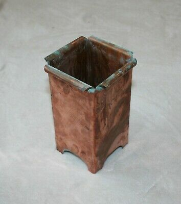 Antique Solid Copper Vase Container 7 inches tall.