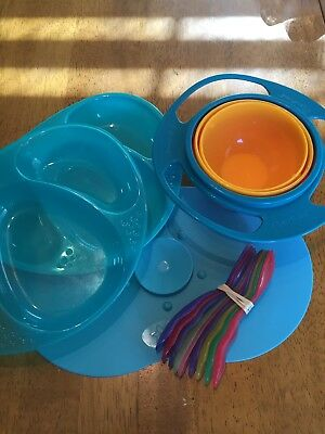 Tommee Tippee Explora Mat 2 Plates Gyro Bowl Utensil Lot
