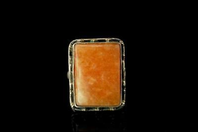 Vintage Hand Made Orange Stone Sterling Silver Ring A803-100