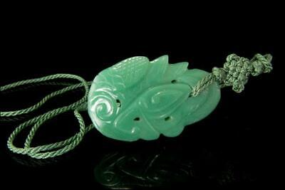 Vintage Chinese Carved Green Hardstone Cord Pendent D109-15