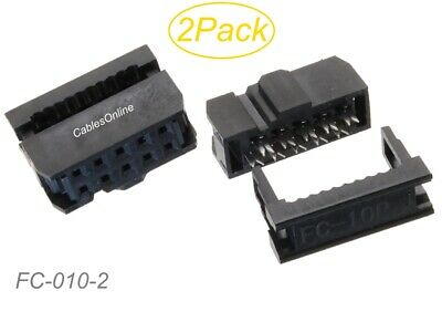 2-Pack 10-Pin Female IDC 2.54mm Pitch Connectors for Flat Ribbon Cable