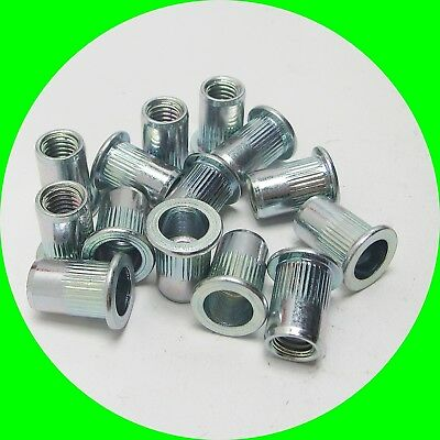 Blind Rivet Nut with Flathead Steel, round Shaft Milled
